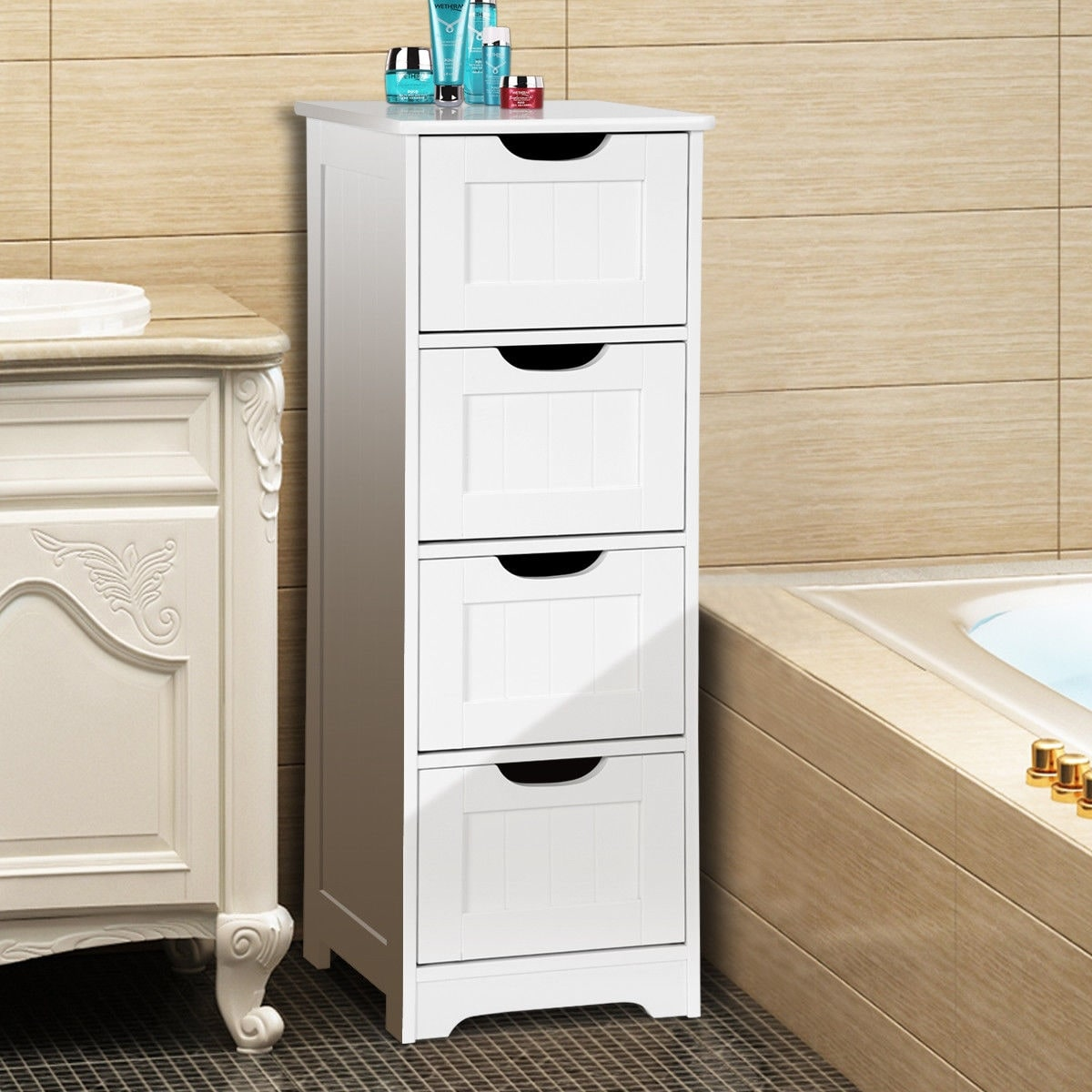 Gymax Bathroom Floor Cabinet Wooden Free Standing Storage Side Organizer W 4 Drawers