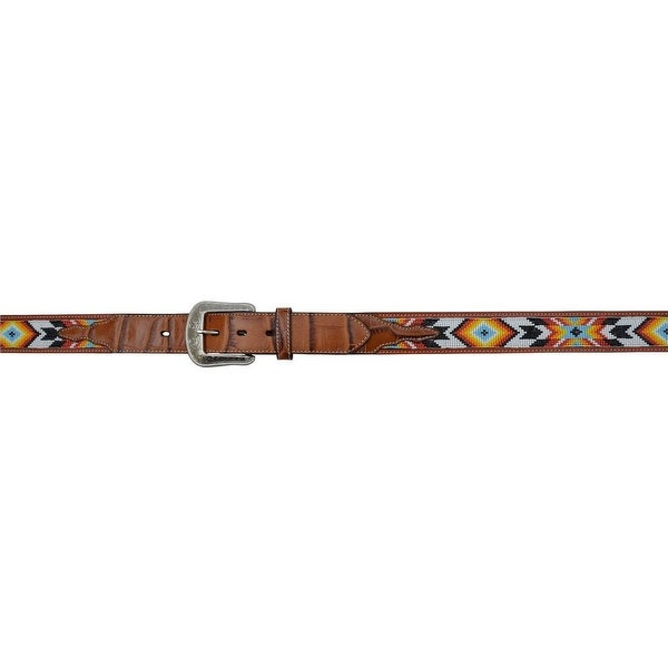 3D Belt Mens Western Gator Print Beaded Inlay Smooth Cognac
