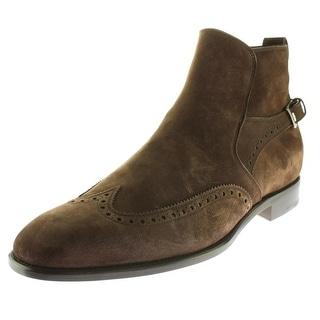 Salvatore Ferragamo Mens Milton Suede Buckle Ankle Boots - 11 extra wide (e+, ww)