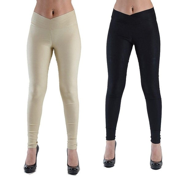 79d5fac4a378b Shop womens skinny leggings with with cross over waistband-Medium-Black -  Free Shipping On Orders Over $45 - Overstock - 23111879