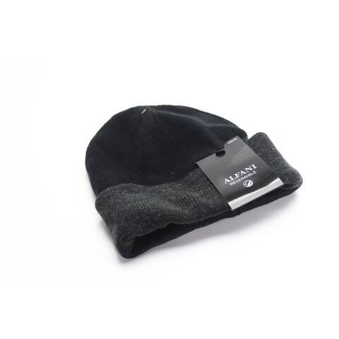 Alfani Men's Hat Black Charcoal Adjustable Reversible Knit Cuffed Beanie