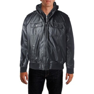 Izod Mens Jacket Faux Leather Hooded