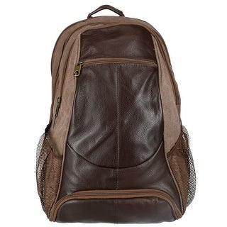CTM® Men's Leather and Canvas Backpack with Laptop and Shoe Compartment - One size