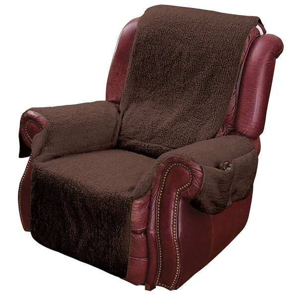 Recliner Chair Cover Protector with Pockets for Remotes and Cellphones - Brown. Opens flyout.