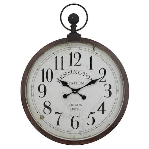 Yosemite Home Decor Kensington Station Pocket Watch Style Wall Clock - 3 x 22.6 x 29.7