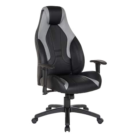 Commander Gaming Chair in Black Faux Leather and Grey Accents