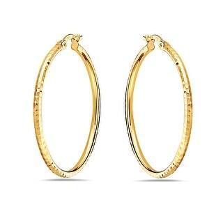 Link to Pori 14K Yellow Gold Diamond Cut Hammered Hoop Earrings Similar Items in Earrings