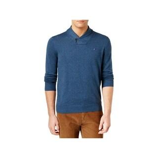 Tommy Hilfiger Mens Springfield Shawl-Collar Sweater Knit Ribbed Trim