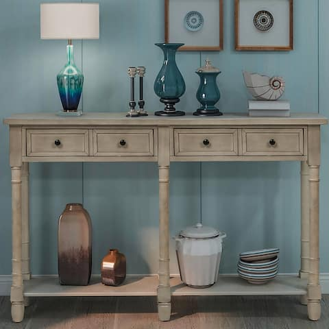 Grey Wash Entryway Console Table with 2 Drawers and Bottom Shelf
