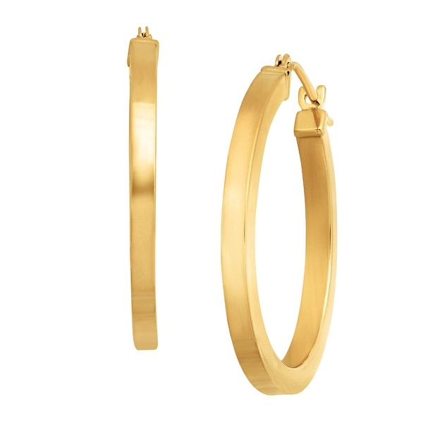 Just Gold Square Tube Hoop Earrings in 14K Gold - YELLOW
