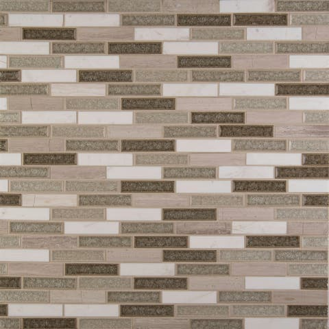"MSI SMOT-SGLSGG-C8MM 1"" x 4"" Linear Mosaic Tile - Varied Glass and Stone Visual - Sold by Carton (10 SF/Carton)"