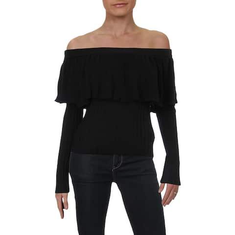 Endless Rose Womens Sweater RibbedKnit Ruffled - Black