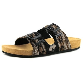Minnetonka Gypsy Women Open Toe Canvas Black Slides Sandal