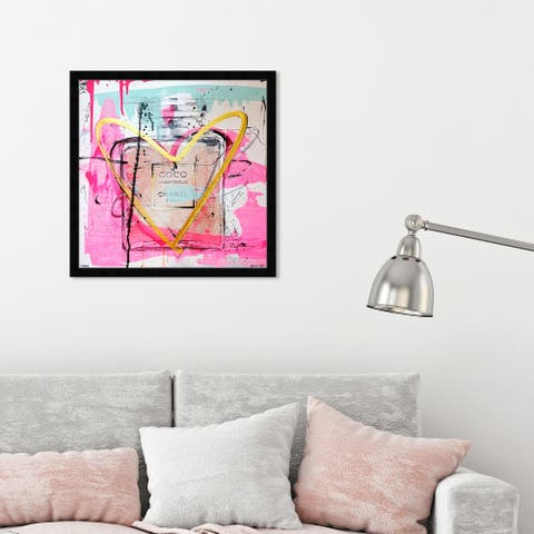 Oliver Gal 'Mademoiselle Remix' Fashion and Glam Wall Art Framed Print Perfumes - Pink, Yellow