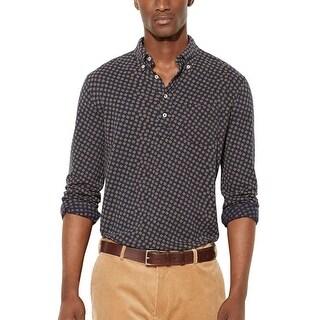 Ralph Lauren Big and Tall Button-Down Mesh Polo Shirt Navy Blue 4XLT Tall