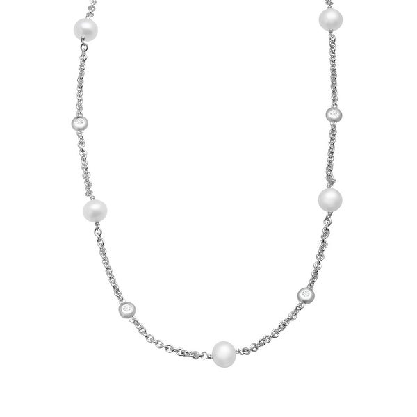 Freshwater Pearl and 1/4 ct Created White Sapphire Station Necklace in Sterling Silver