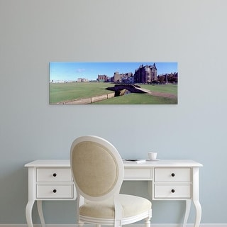 Easy Art Prints Panoramic Image 'Footbridge, Golf course, Golf Club of St Andrews, Fife, Scotland' Canvas Art