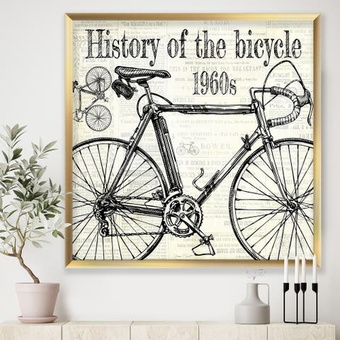 Designart 'History of The Bicycle-E' Traditional Framed Art Print