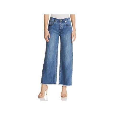 f38df5e21 MICHAEL Michael Kors Womens Cropped Jeans Wide Leg Raw Hem