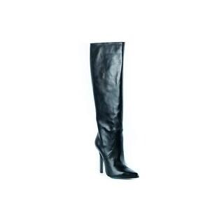 Roberto Cavalli Black Leather Knee High Boots