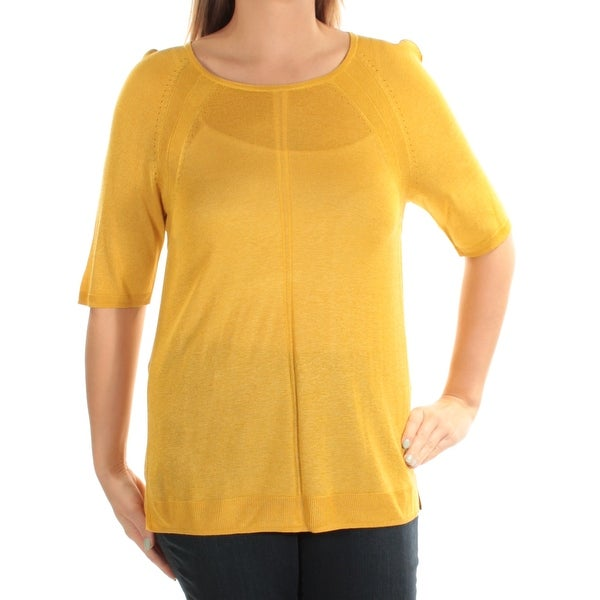 6a854f913cf2c ANNE KLEIN Womens Yellow Short Sleeve Jewel Neck Top Size: L