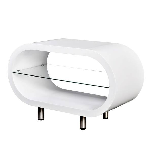 Vidaxl High Gloss White Tv Stand Coffee Table Oval