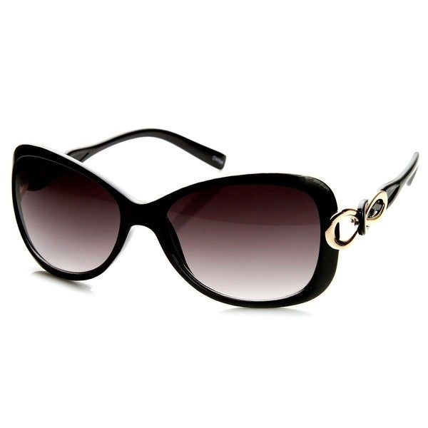 Womens Fashion Bow-Tie Metal Cut-Out Temple Oval Sunglasses. Opens flyout.