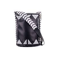 Roberto Cavalli Black Leather White Accent Shoulder Bucket Bag