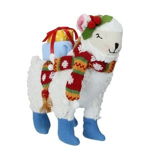 8.5 Bohemian Multicolor Plush Llama with Hat Christmas Tabletop Figure