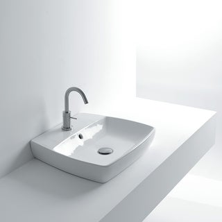 "Link to WS Bath Collections H10 50R 19-1/2"" Ceramic Vessel / Wall Mounted - White Similar Items in Sinks"