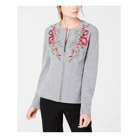 XOXO Womens Gray Embroidered Zip Front Blazer Jacket Size XS