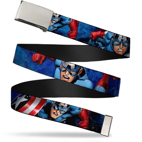 Marvel Avengers Blank Chrome Buckle Marvel Avengers Captain America Web Belt