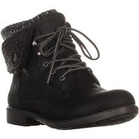White Mountain Decker Fold Over Lace Up Winter Boots, Black