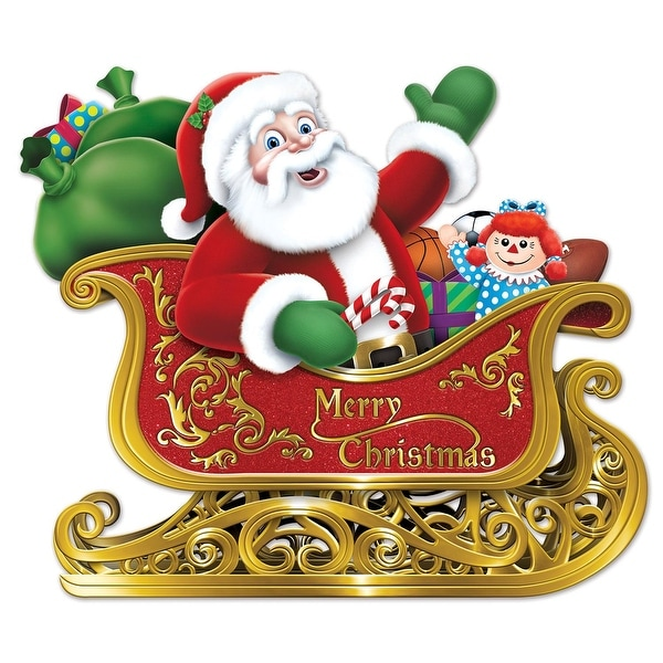 """Pack of 12 Jolly Santa in Sleigh with Toys Christmas Cut-Out Decorations 29"""" - GOLD"""