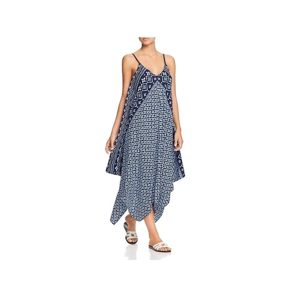 1b83c3d7e8 Tommy Bahama Womens Cowrie Printed Handkerchief Hem Dress Swim Cover-Up -  L/XL