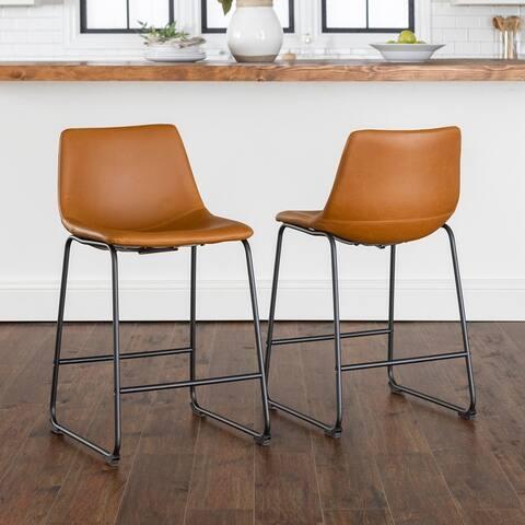 Carbon Loft Prusiner Faux Leather Counter Stool (Set of 2)