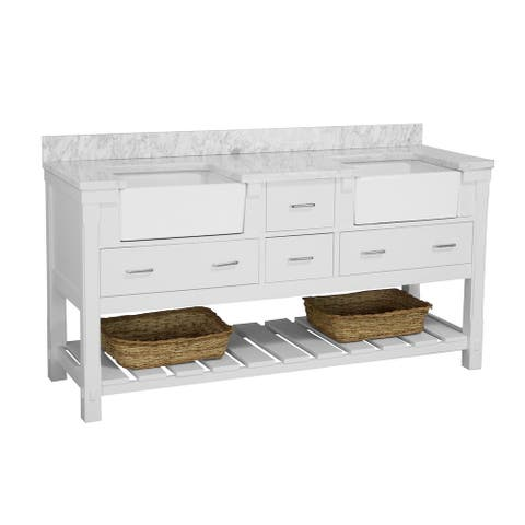 """KitchenBathCollection Charlotte 72"""" Double Farmhouse Vanity with Carrara Marble Top"""