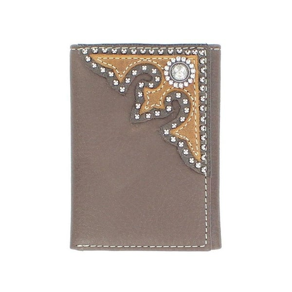 Nocona Western Wallet Mens Trifold Western Overlay Chocolate - One size