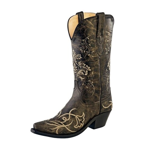 Old West Cowboy Boots Womens Goodyear Leather Vintage Charcoal