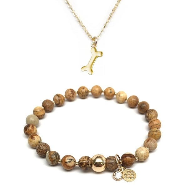 "Brown Jasper 7"" Bracelet & Dog Bone Gold Charm Necklace Set"