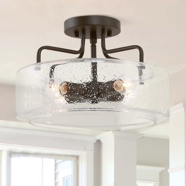 Farmhouse Glass Metal Semi-flush Mount Ceiling Lights. Opens flyout.