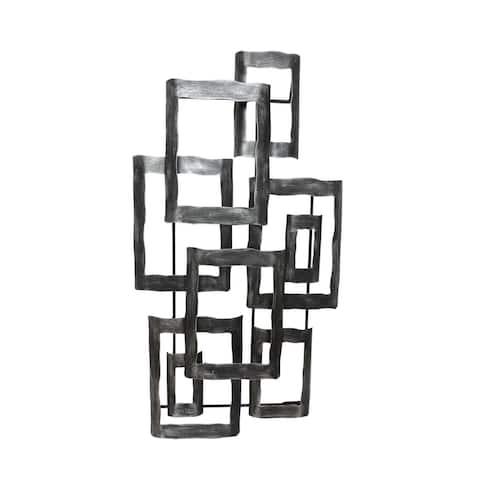"Metal 19"" Contemporary Wall Decor Silver, Wb"