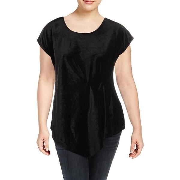 NY Collection Black Women's Size 2X Plus Velvet Asymmetric Blouse