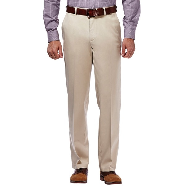 Haggar Straight Fit Sustainable Stretch Chinos Flat Front Khaki Pants