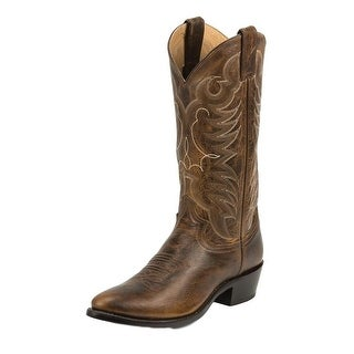 Justin Western Boots Mens Leather Cowboy Round Damiana Tan 1567