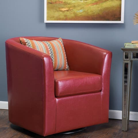 """Christopher Knight Home Daymian Faux Leather Swivel Club Chair - 30.25""""H x 30""""W x 29""""L"""