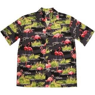 Men's Flamingo Gator Camp Shirt - Short Sleeve Button Down