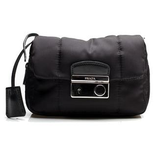 Prada Women's Nylon Fabric Bomber Shoulder Bag Handbag Black - M