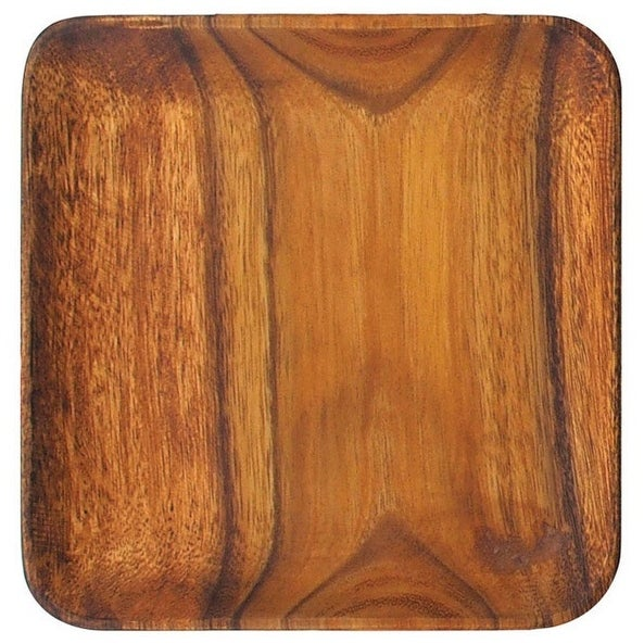 "Pacific Merchants Acaciaware K0061 Acacia Wood Square Serving Plate, 12"""