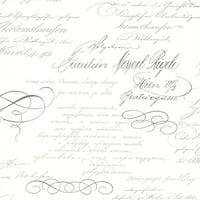 Brewster 2532-20459 Ferdinand Slate Poetic Script Wallpaper - ferdinand slate